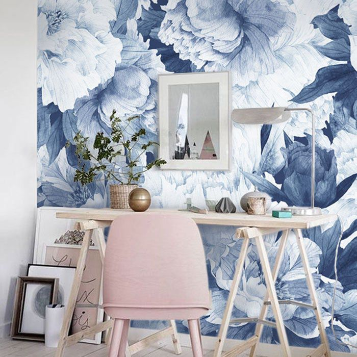 Peonies Flowers Mural Blue Removable Wallpaper, Wall mural, Peel and stick, Floral wallpaper, Self adhesive, Temporary mural