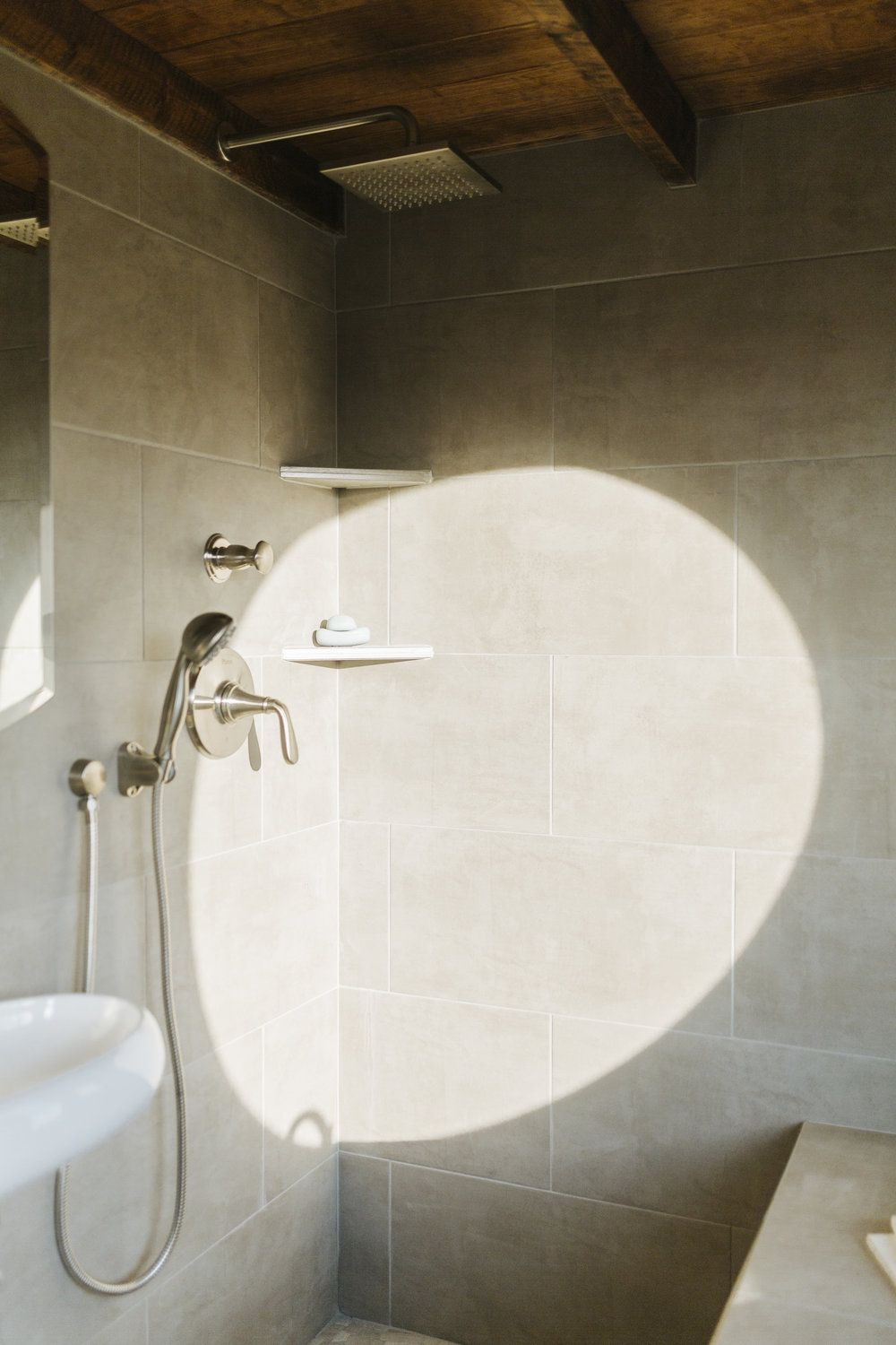 I Love Everything About This Shower Especially The Walls They Look Easy To Clean Monocle By Wind River Tiny Homes Tile Wet Bath Rain Head