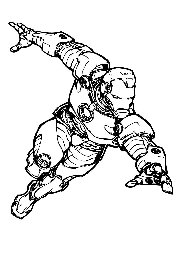 Iron man marvel comics coloring page