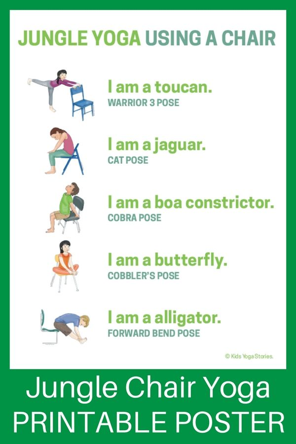 5 Jungle Yoga Poses Using A Chair Download The Printable