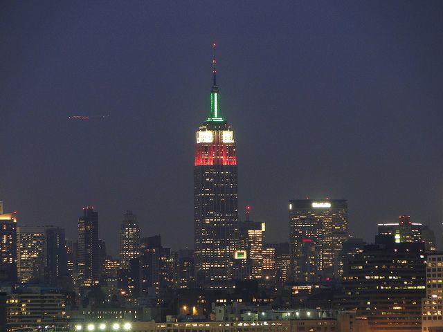 The Empire State Building in NYC is light up in the colors of The Italian Flag in Honor of Italian Heritage Month/Columbus Day