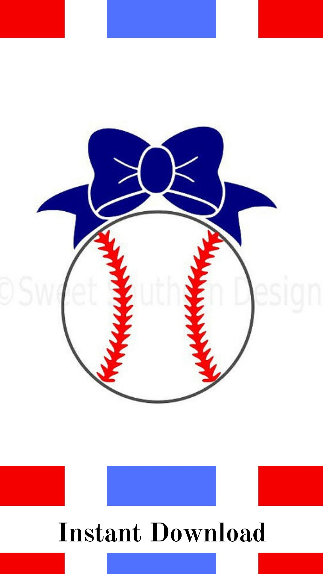 Download Monogram baseball softball with bow SVG instant download ...