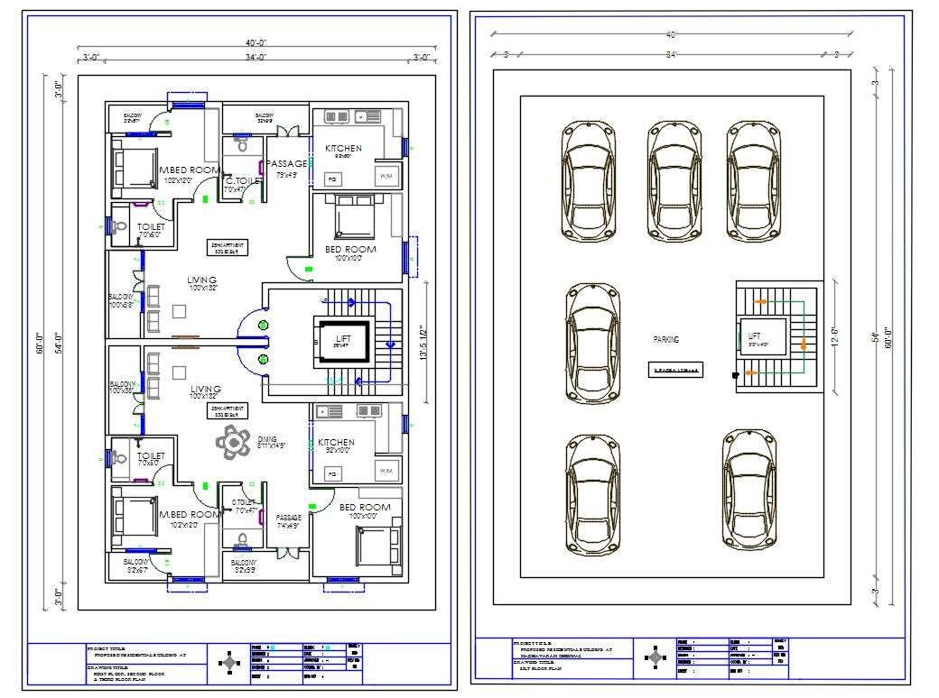 2400 SQFT 2 BHK House Apartment Layout With Furniture CAD Drawing DWG File