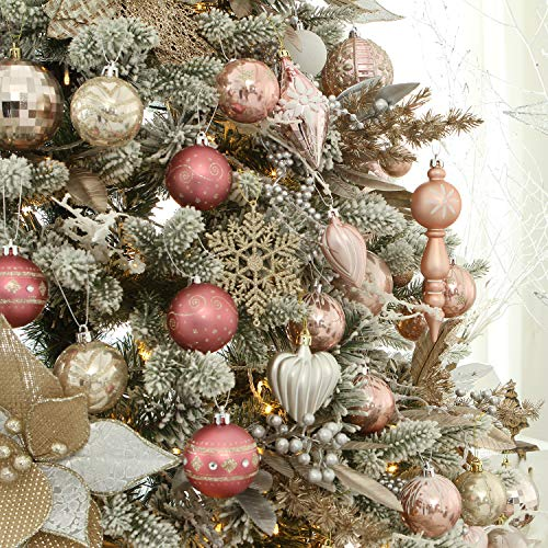 Sea Team 60mm 2 36 Delicate Contrast Color Theme Painting Glittering Christmas Tree Ornaments Classy Christmas Decor Classy Christmas Glitter Christmas