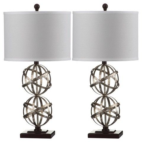 Safavieh haley double sphere table lamp set of 2 silverwhite safavieh haley double sphere table lamp set of 2 mozeypictures Images