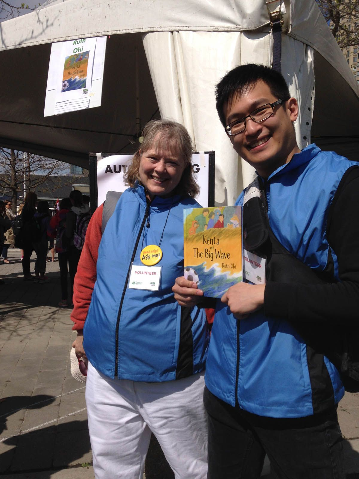 Volunteers make it happen.  Forest of Reading Celebration in Toronto, Ontario.  Nominated Book:  Kenta and the Big Wave (Annick Press)