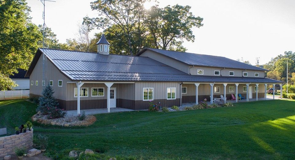 This Home Was Built For Lavern Linda Of Cohasset Mn Special Features Morton S Hi Rib Steel Mor Metal Building Homes Metal Buildings Barn Style Garage Doors