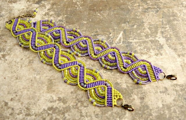 Micro macrame bracelets in lime and amethyst by Sherri Stokey of Knot Just Macrame.