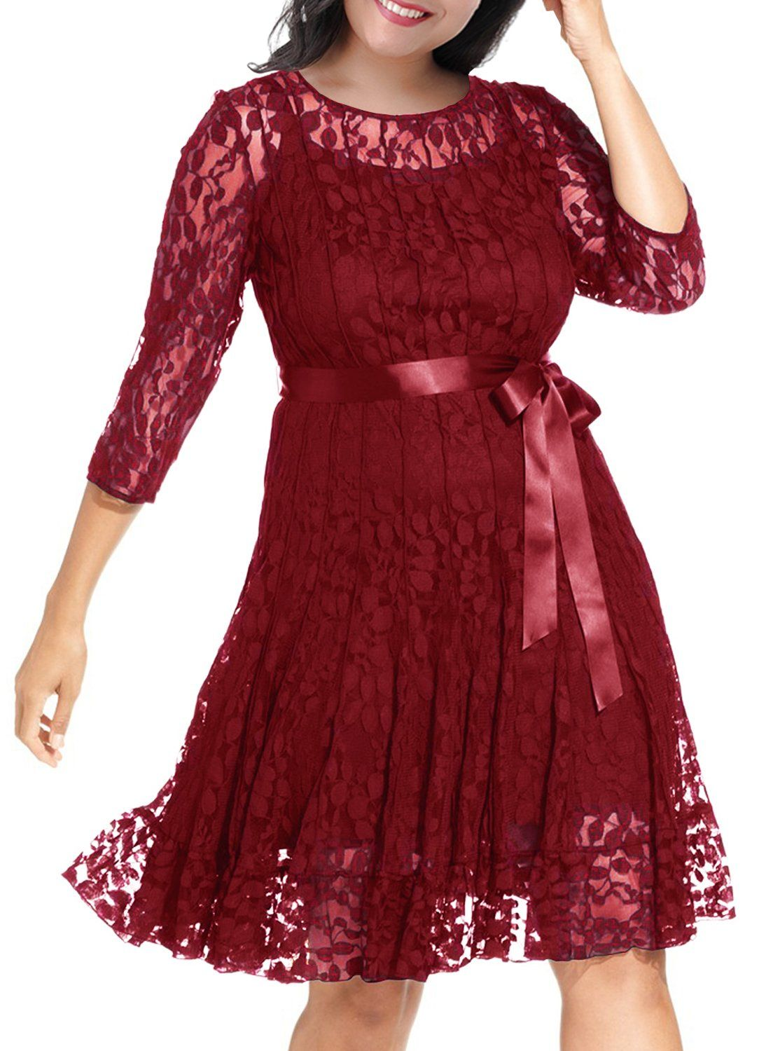 Nemidor Womens Illusion Floral Lace 3 4 Sleeves Plus Size Cocktail Dress 20w Wine Continue To Th Lace Swing Dress Plus Size Cocktail Dresses Midi Swing Dress [ 1500 x 1114 Pixel ]