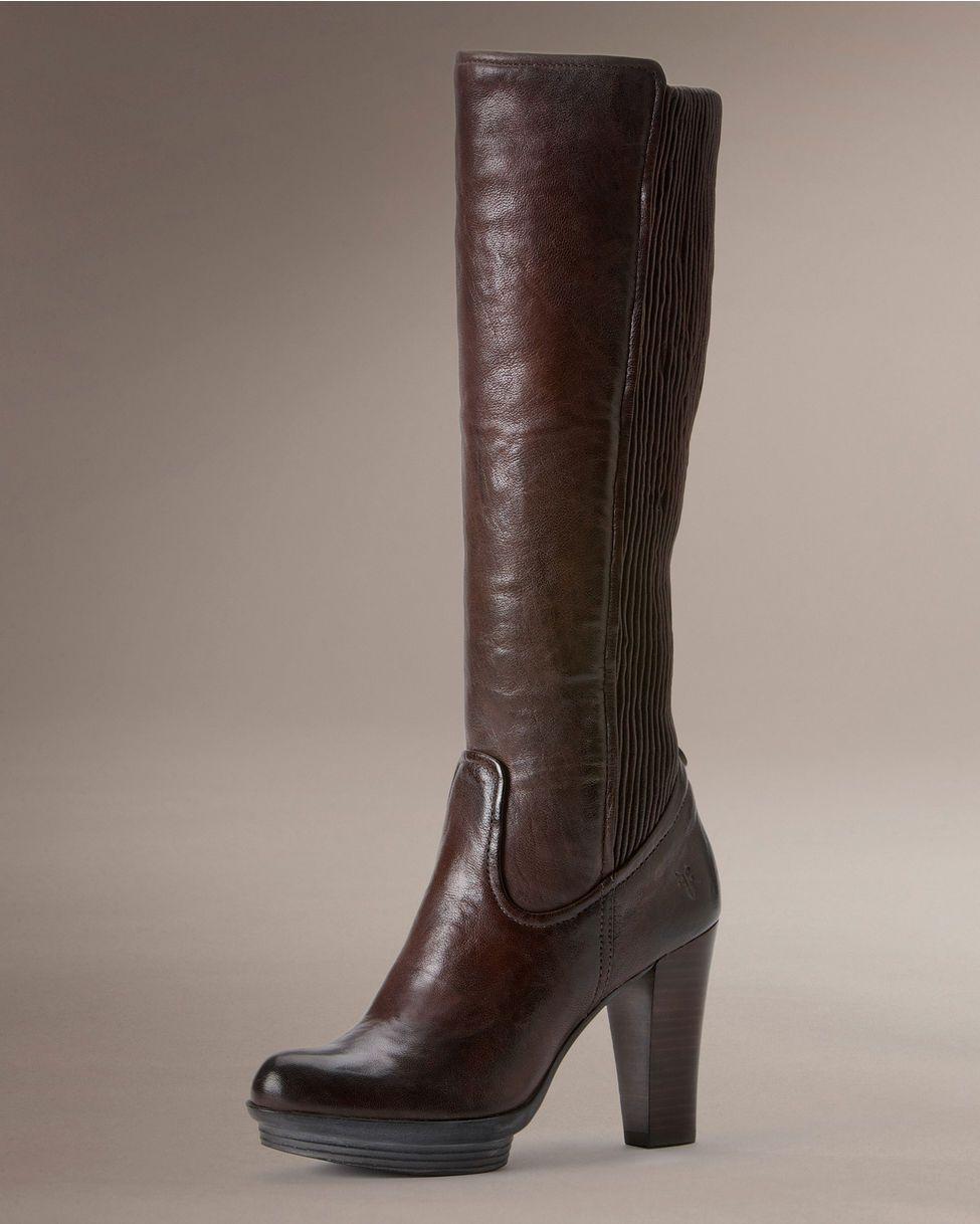 Frye Women's Mimi Back Scrunch Tall Boot - Dark Brown