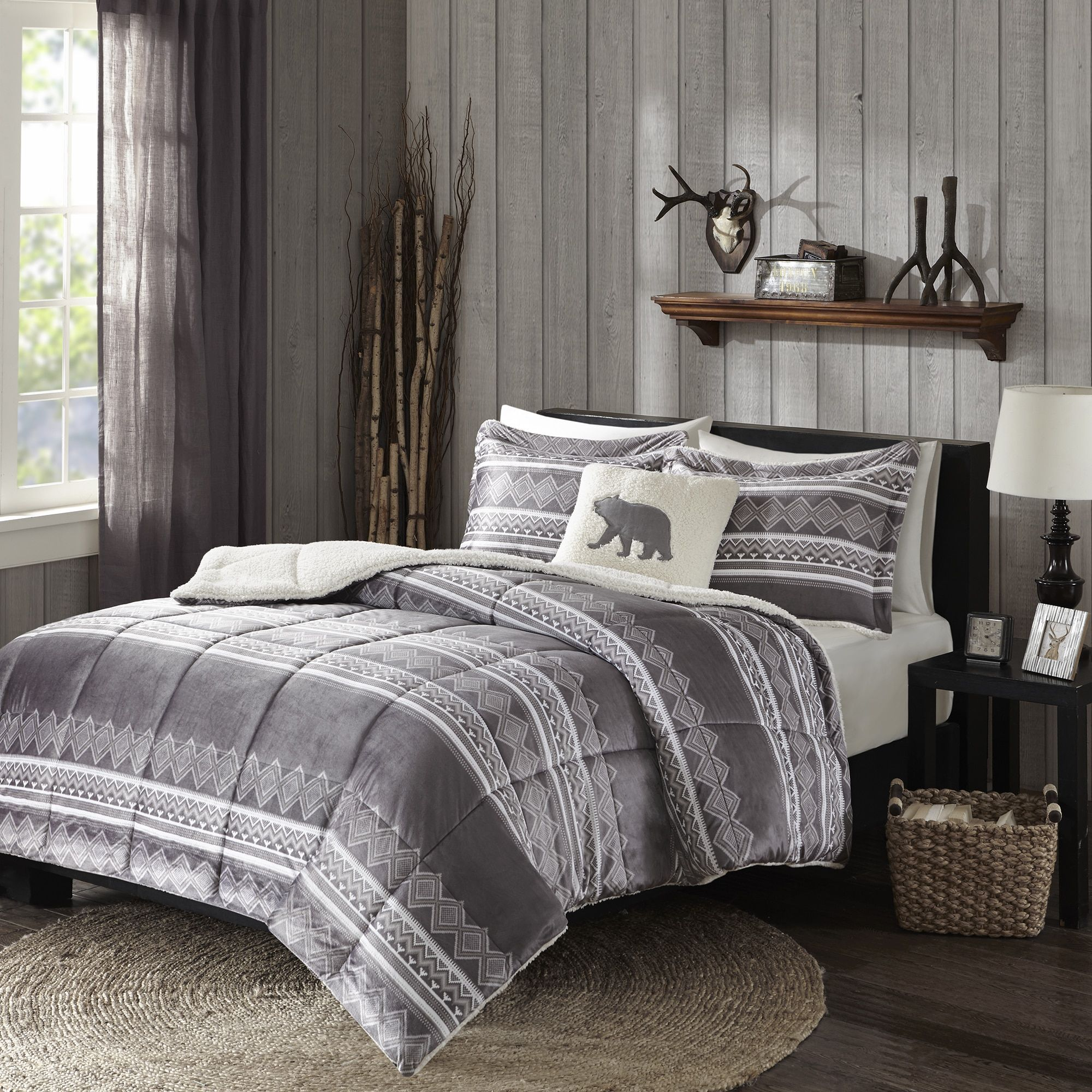 Woolrich Anderson Mink Down Alternative King Size Comforter Set In Gray