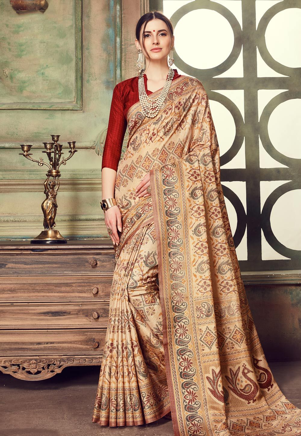39d4f7548a Buy Beige Silk Saree With Blouse 161489 with blouse online at lowest price  from vast collection of sarees at Indianclothstore.com.