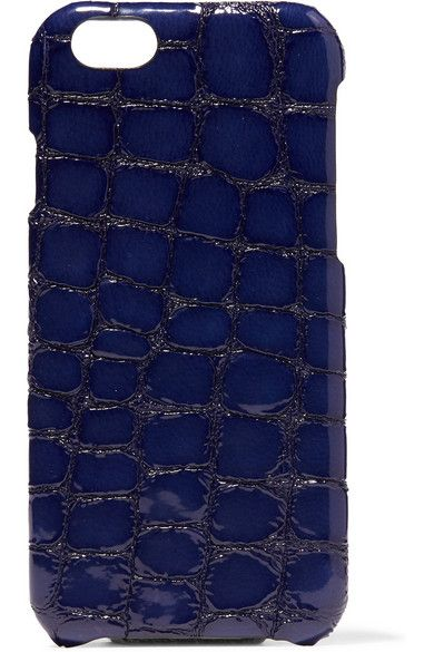 Navy croc-effect glossed-leather (Calf) Compatible with iPhone 6 Made in Italy