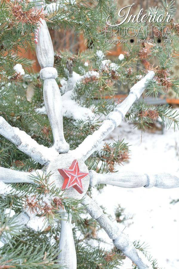 Repurposed Chair Spindle Large Snowflake Ornament Christmas Snowflakes Decorations Diy Christmas Snowflakes Wooden Snowflakes