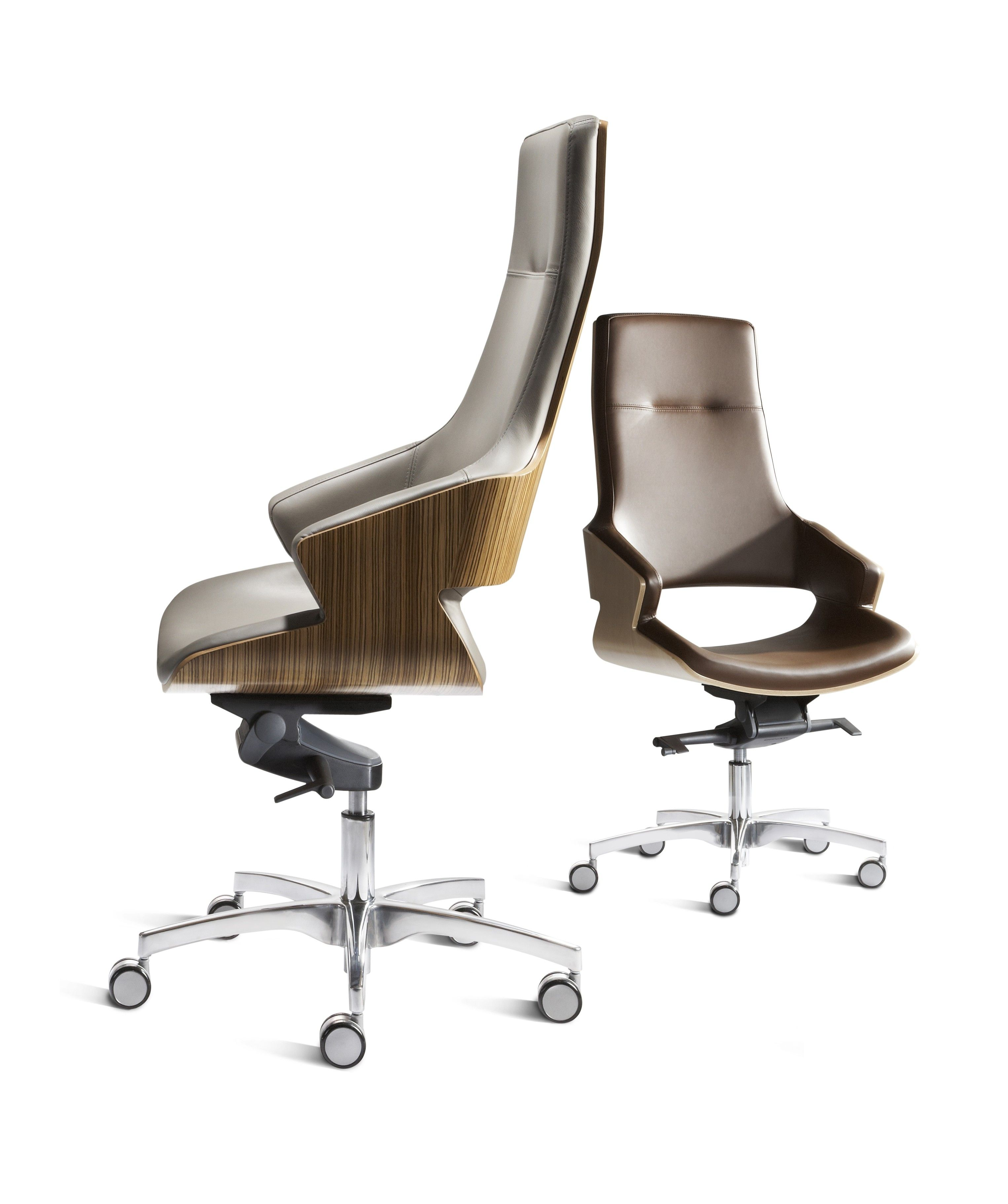 Stanley   High Back Executive Chair With Walnut Outer Shell