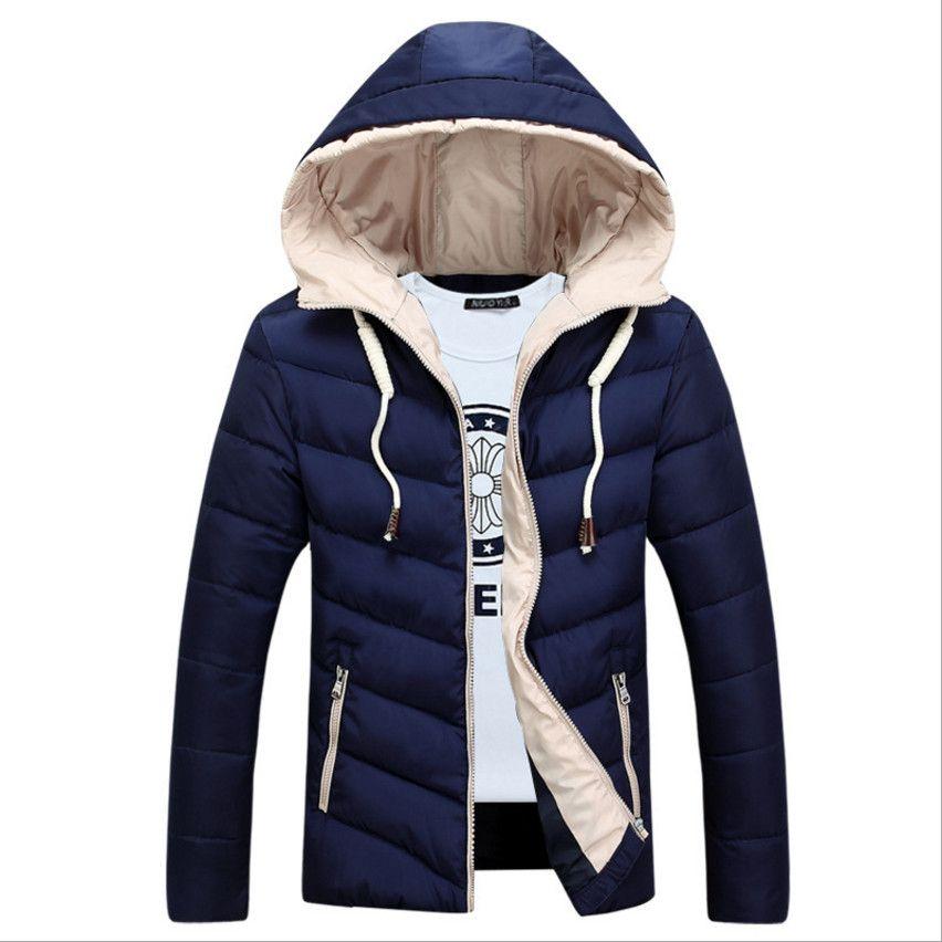 2017 New Park Men Parkas Cotton Jackets Winter Man Coat Hooded Fashion Solid  Plus Size L