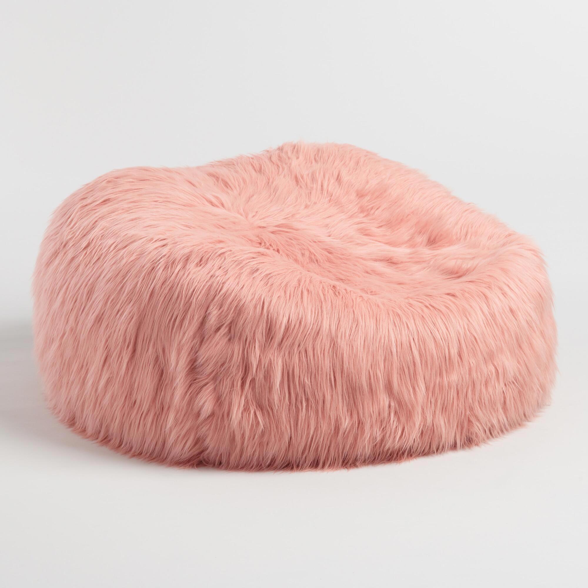 fcdf70fe0c Blush Mongolian Faux Fur Bean Bag Chair by World Market  beanbagchairs