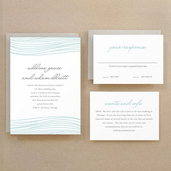 Printable Wedding Invitation Template INSTANT DOWNLOAD Ocean - download free wedding invitation templates for word
