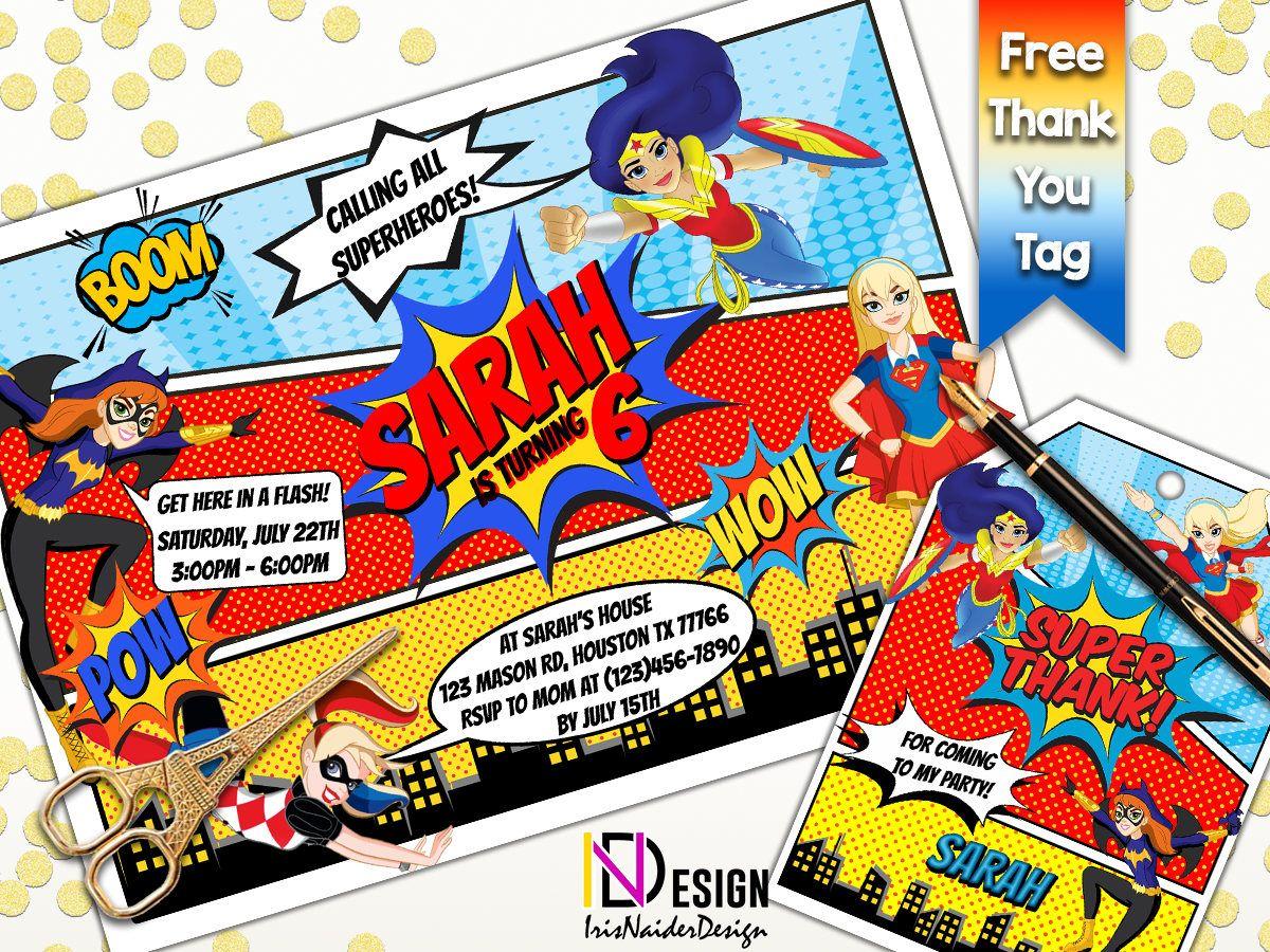 Dc Superhero Girls Invitation Free Thank You Tag Dc Superhero