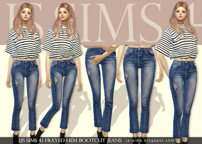 4f6078f9917 Frayed Hem Bootcut Jeans at JS Sims 4 • Sims 4 Updates | ropaaa