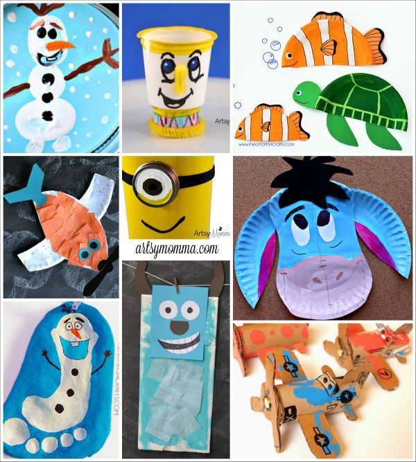 Disney Character Crafts Made With Items Found In The