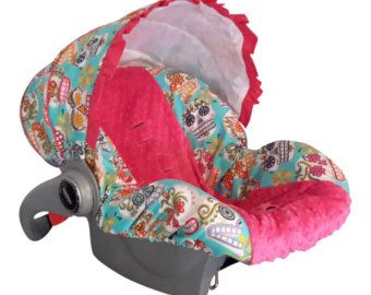 Baby Car Sear Cover Infant Seat Slip Sugar Skull Hot Pink Minky