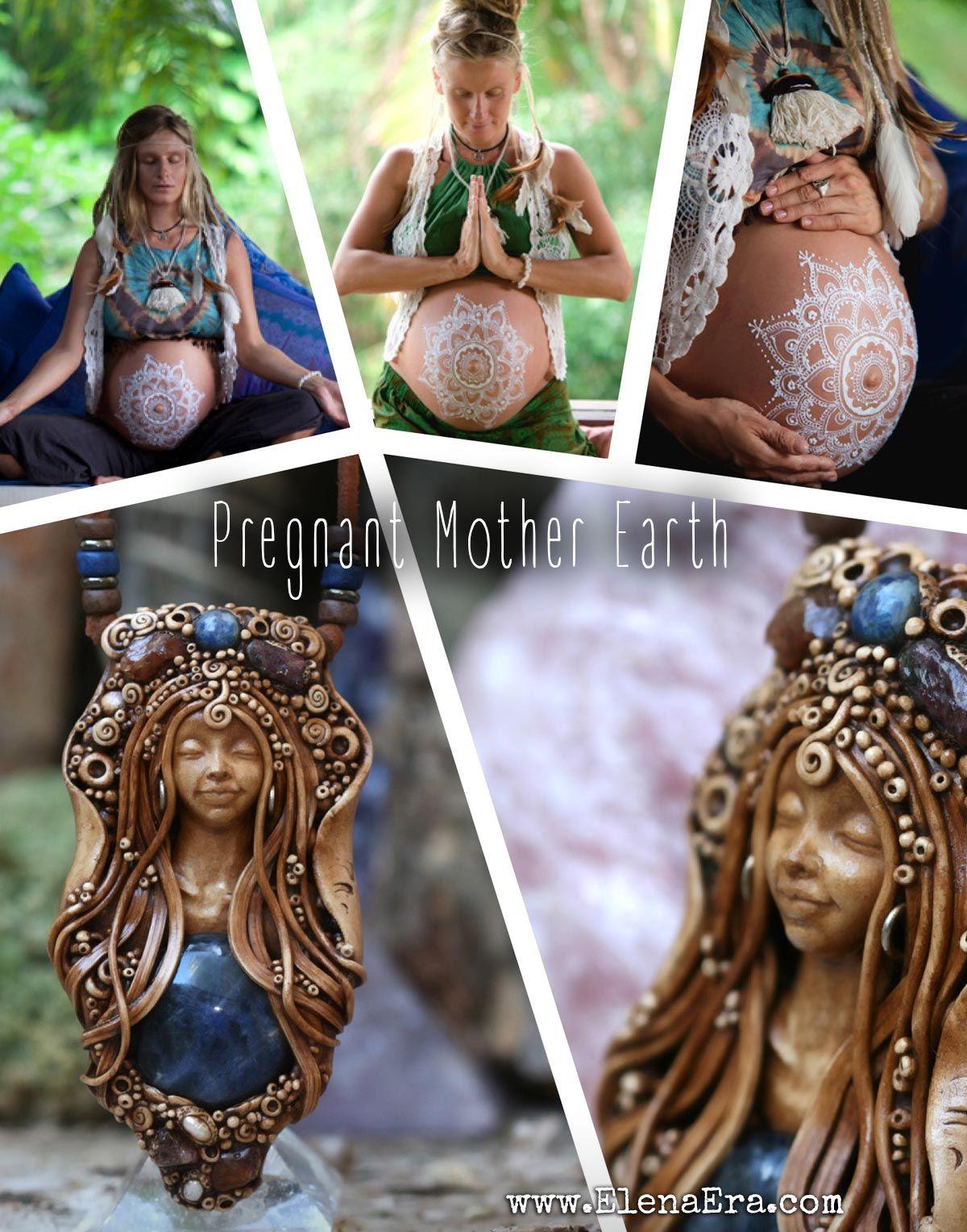 boho necklace healing jewelry healing necklace boho gypsy necklace bohemian necklace Pregnant Mother Earth Gypsy boho jewelry