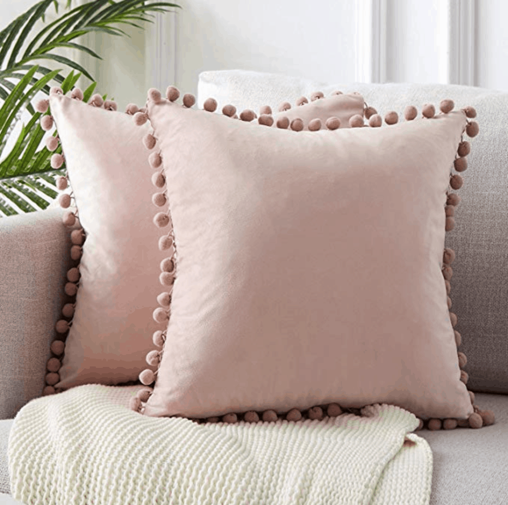 Cute dorm room decorations pink pom pom pillows from