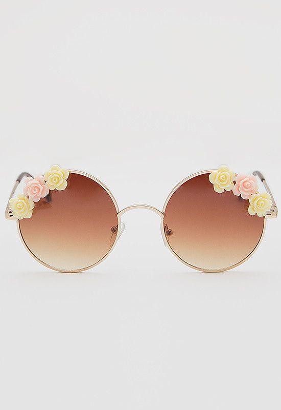 bdfbd22a7b Bandit Floral Sunglasses - Gold, floral sunglasses, flowers, cute sunglasses,  very chic, hippie, boho, yellow, pink, brown, #shoppriceless