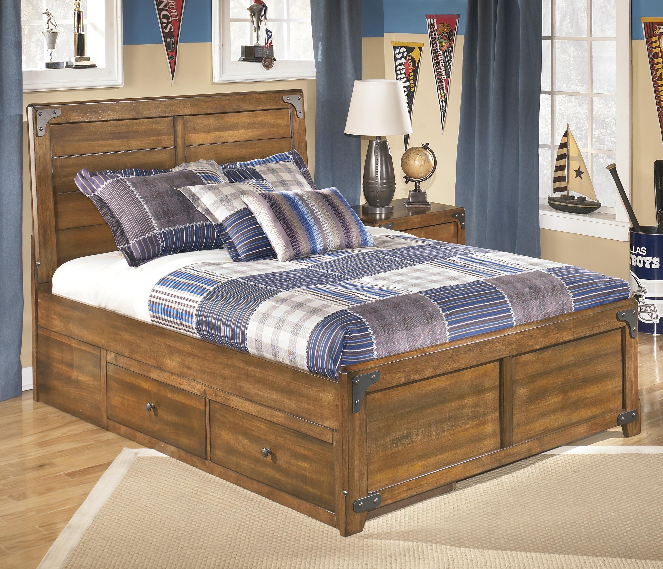 Delburne Full Platform Pedestal Bed with Storage by