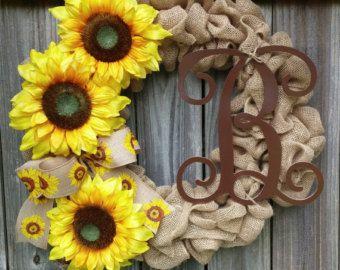 Summer Burlap Wreath, Sunflower Burlap Wreath, Burlap Wreath Summer, Sunflower Wreath with Monogram, Monogram burlap wreath, Wreath for door
