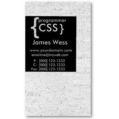 Web Designer CSS Programmer Computer Developer Business Card by