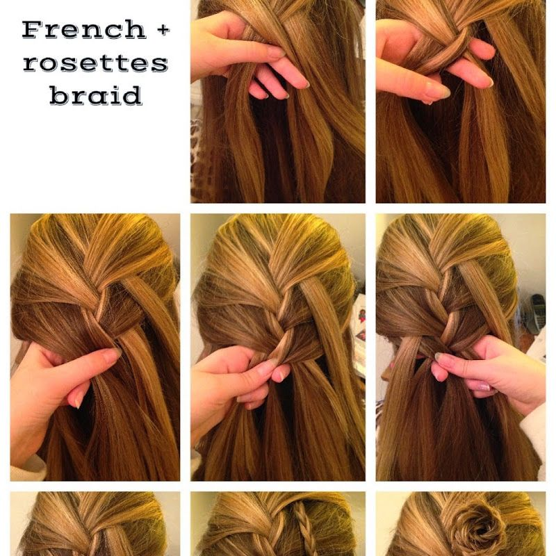 How To French Braid Rosettes Hairstyle On Yourself Tutorial Hair