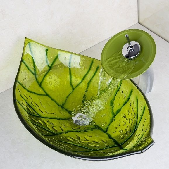 Steel · US W New Bathroom Tempered Glass Green Leaves Vessel Sink ...