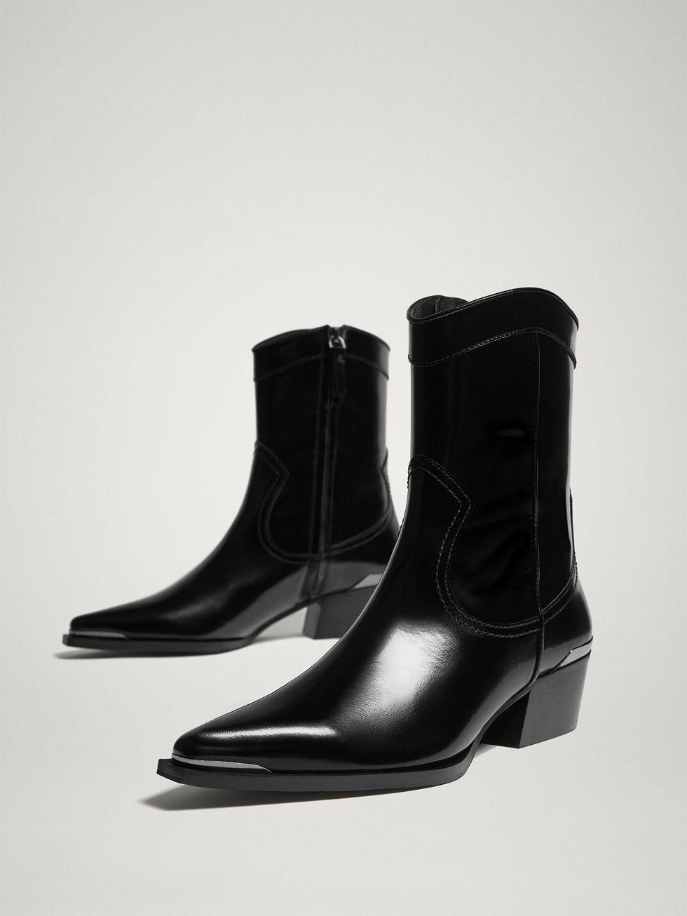 1369f6262ca BLACK ANTIK LEATHER COWBOY ANKLE BOOTS - Women - Massimo Dutti ...