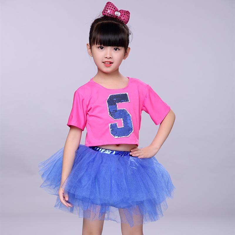 1b10d3932219 Modern Jazz Dance Costume Girl Sequin Top Salsa Skirts Hip Hop Dance ...
