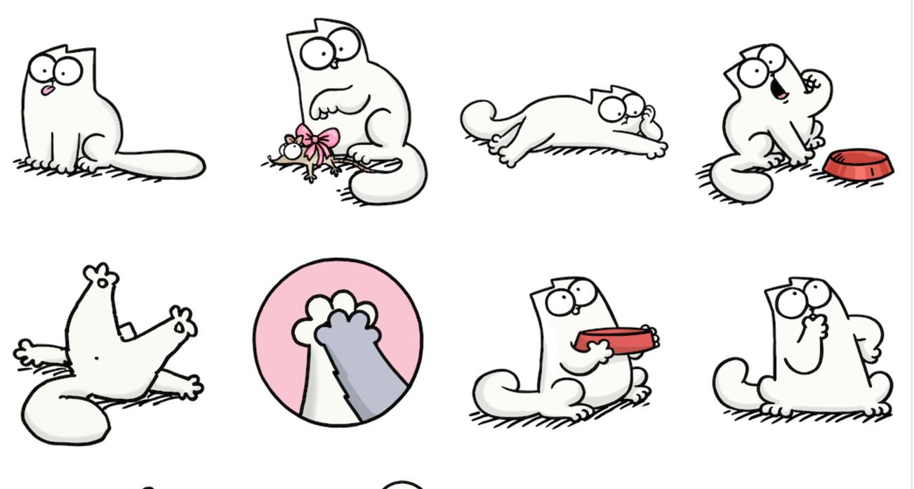 Прикольные рисунки про кота саймона, сторона визитки