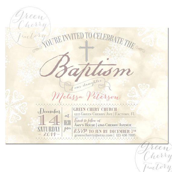 Printable Winter Baptism Invitation  Winter by GreenCherryFactory, $18.00