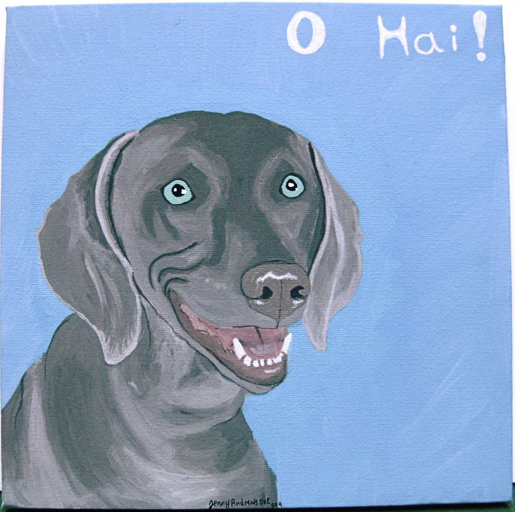 https://flic.kr/p/b6CKgK | weimaraner | A Weimaraner for my friend, because they are her favorite breed :)   Acrylic paint on canvas  Copyright: Jenny Andrews 2011