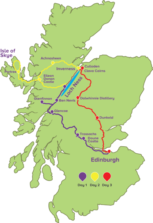 3-Day Tour Map in 2019   Scotland tours, Edinburgh tours ... on map of elsternwick, map of dundee, map of south coast of england, map of faith, map of staffa, map of lewis, map of scott, map of alex, map of macleod, map of tiffany, map of uk, map of emma, map of highland, map of chris, map of alexis, map of sky, map of isle of man, map of avenue, map of mull, map of victoria,