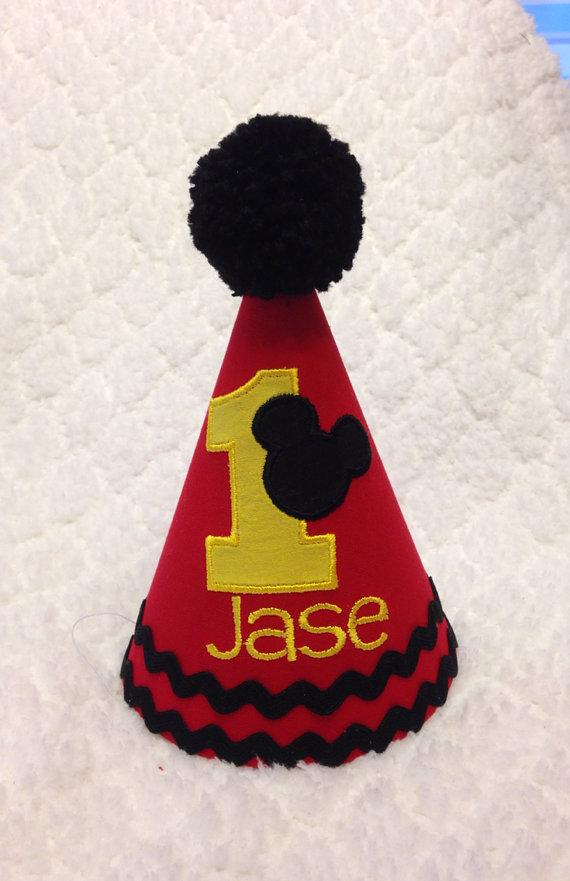 Embroidered Birthday Hat Mickey Mouse By SlickandBoogers On Etsy