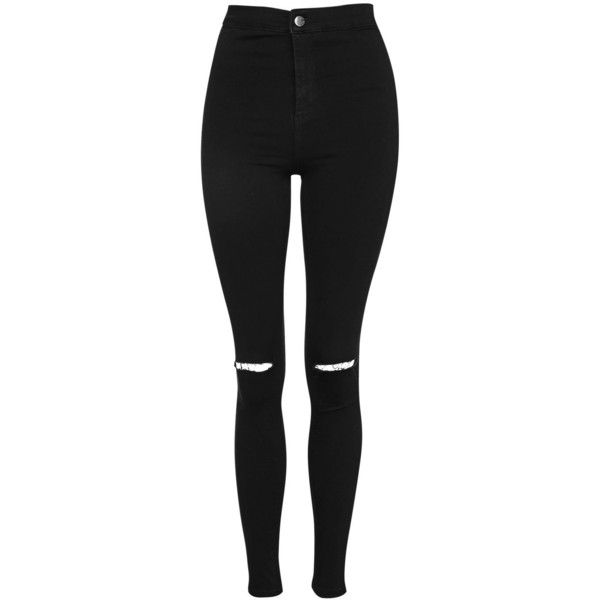 Topshop Petite Black Rip Joni Jeans ($49) ❤ liked on Polyvore featuring jeans, pants, black, bottoms, calça, high-waisted jeans, ripped jeans, distressed skinny jeans, petite skinny jeans and high rise skinny jeans