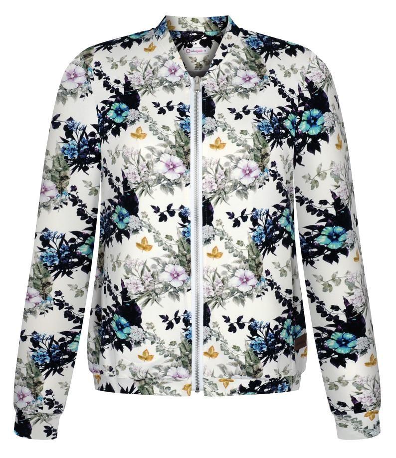 Dzianinowa Bomberka Damska W Kwiaty Bluza Floral Z Suwakiem Etsy Fashion Athletic Jacket Jackets