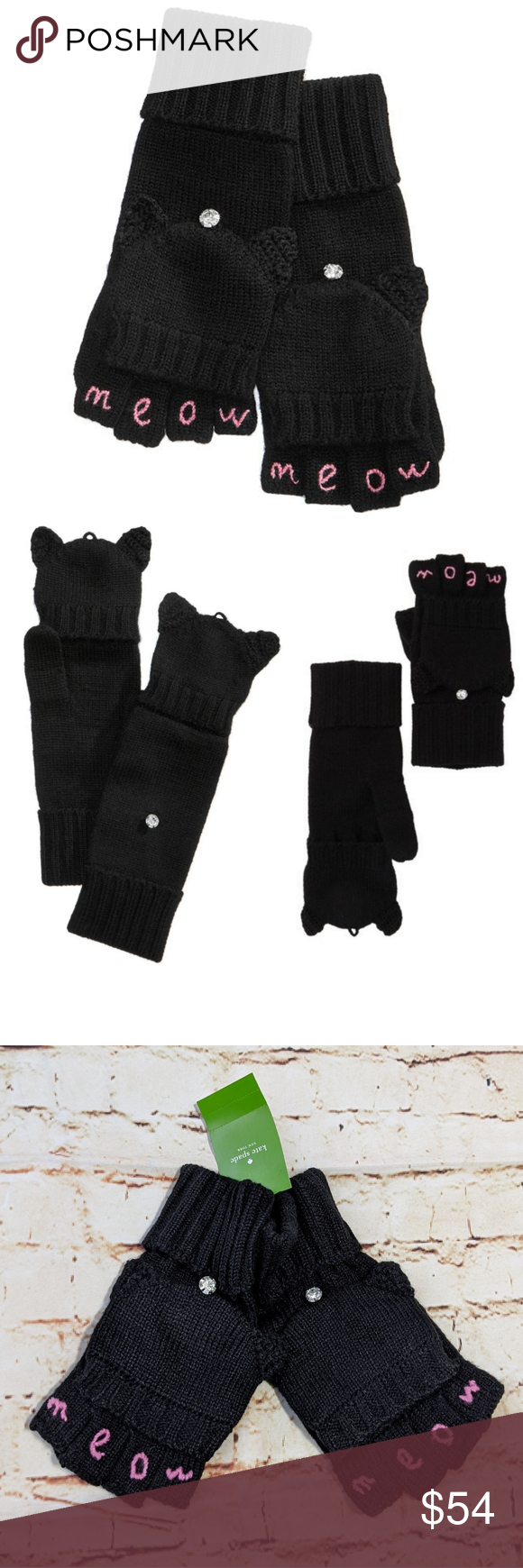Kate Spade Meow Pop Top Mittens Gloves In 2020 Clothes Design Fashion Fashion Tips