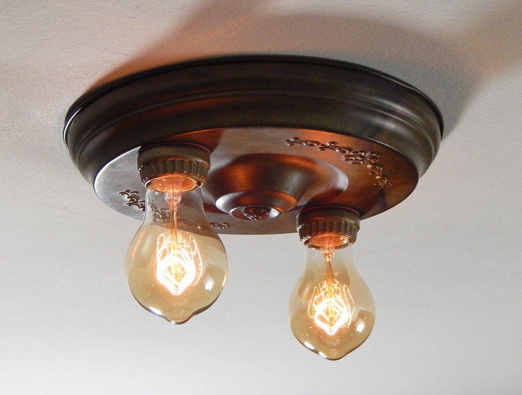 Flush Mount Antique Brass Pan Ceiling Light Fixture Sold Ceiling Lights Ceiling Light Fixtures Light Fixtures