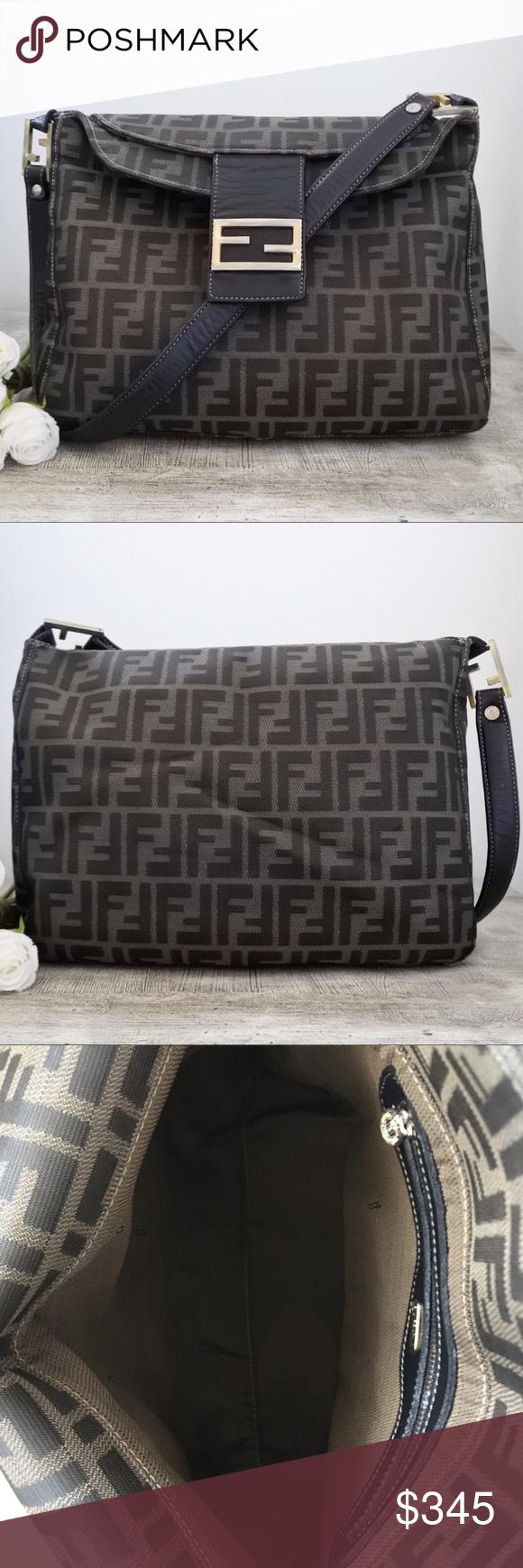 af53b7ec2ba Fendi Zucca Monogram Shoulder Bag Authentic Vintage Fendi Zucca Monogram  Canvas Bag. Beautiful tobacco brown