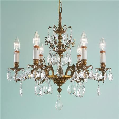 Antique 6 Arm Brass Chandelier With Crystal Stem