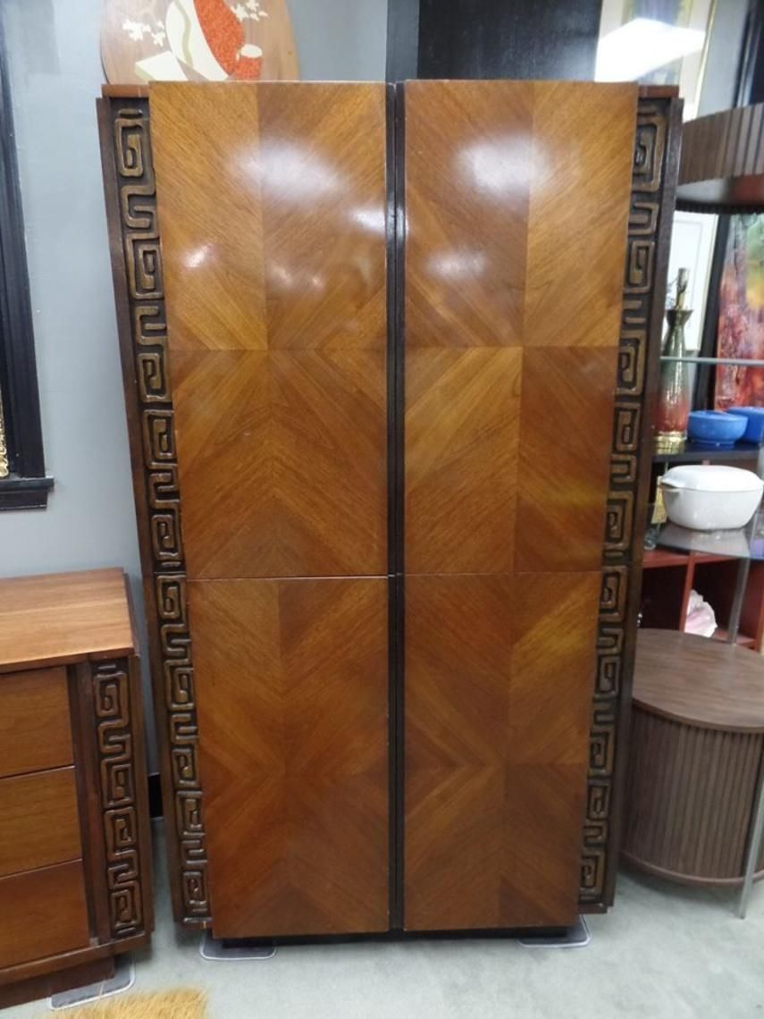 Walnut Armoire With Carved Wood Details From Peg Leg Vintage Of Beltsville Md Attic Wood Detail Wood Carving