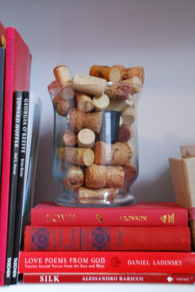 Fill a see-through container with used wine corks. Each time you put a wine cork in, make sure you date it and write a small memory from the date.