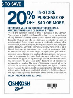 photo relating to Osh Coupons Printable called Osh Kosh BGosh 20 p.c Off Clean Coupon codes/ Youngsters, Food items